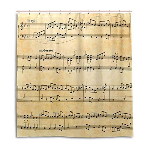 CPYang Duschvorhang, Vintage-Musiknote, wasserdicht, schimmelresistent, 168 x 182 cm, mit 12 Haken