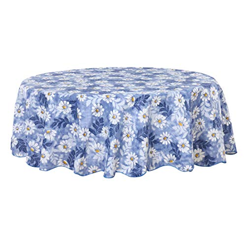 uxcell Seamless Stain Water Resistant Vinyl Round Tablecloth 71' Dia for Wedding/Restaurant/Parties Tablecloth Decoration Blue Flower Pattern Floral Printed