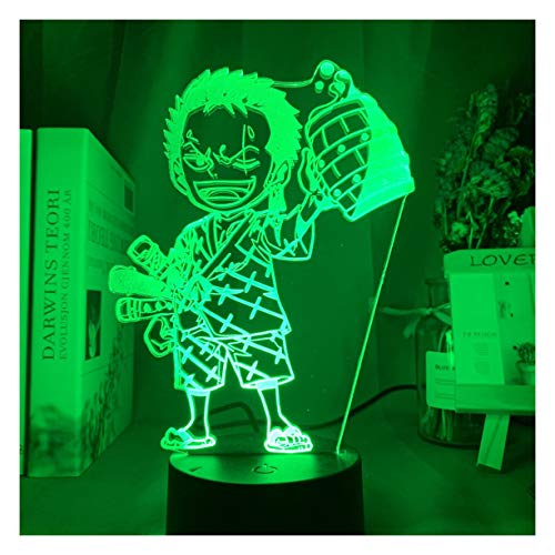 Luz de Noche LED One Piece Monkey D. Luffy Lámpara de ilusión 3D Anime japonés Roronoa Zoro Lámpara de Escritorio, 7/16 Color Touch Lámpara de Mesa remota Home Kid Bedroom Toy Decor