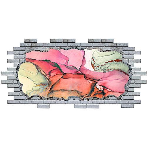 BAOWANG Pegatinas de pared Resumen de mármol rosa fresco ladrillo pared calcomanía arte 3D pegatinas vinilo habitación adesivi da parete camera da letto 60 * 90cm