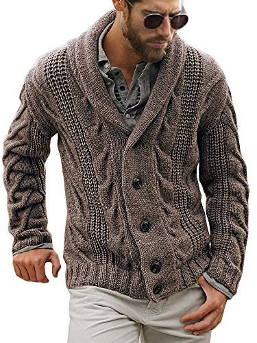 Mens Cable Knit Cardigan Sweater Shawl Collar Loose Fit Long Sleeve Casual Cardigans Brown