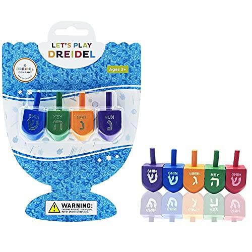 The Dreidel Company Wood Multi-Colored Dreidels Medium Sized Hanukkah Draydels with English Transliteration (4-Pack)