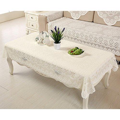 Yazi Copri tavolo stile rustico europeo con bordo in pizzo Tovaglie stile vintage ricamata floreale bianca con pizzo a fiore di prugna, ricamo, bianco, 140 x 200 cm