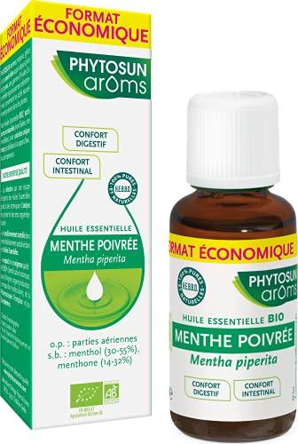 Phytosun Arôms Huile Essentielle de Menthe Poivrée BIO - 100 % Pure et Naturelle - Contribue au Confort Digestif et Intestinal - 30 ml