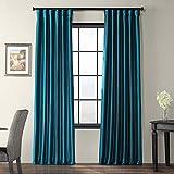 HPD Half Price Drapes PTCH-JTSP003-96 Faux Solid Taffeta Curtain (1 Panel), 50 X 96, Mediterranean