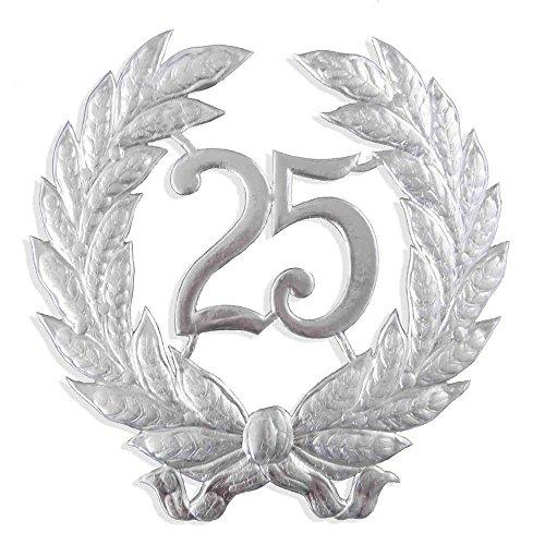 Jubiläumszahl 25, Ø 41 cm, silber, Jubiläumskranz