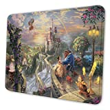 Beauty and The Beast Mouse Pad Mouse Mat with Stitched Edge Non-Slip Rubber Base Large Mouse Pads for Laptops Computers and PCs 12' X 10' X 0.12' Inches