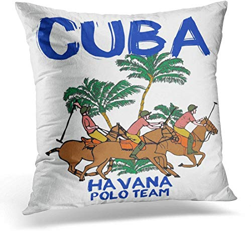 Kinhevao Cojín Caballo Cuba Havana Polo Team Diseño gráfico Playa Almohada Decorativa Decoración para el hogar Almohada Cuadrada