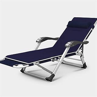 KAISIMYS Rocker Recliner Sun Lounger Verstellbarer Marinestuhl Gartenmöbel Klappbett für den Strandpool Patio Garten Camping Füße Stahl Quadrate (Größe: Mit Kissen)