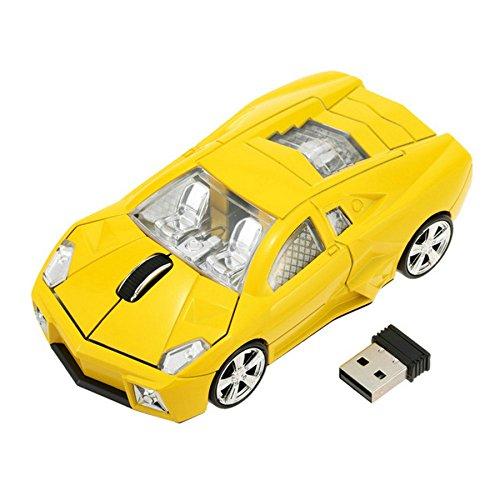 GuDoQi Laptop Maus Schnurlos PC Maus Wireless Sportwagen Geformt Optical Business Mouse mit USB-Empfänger und LED Gelb