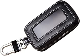 Black Universal Vehicle Car Smart Key Case Remote Fob Case Holder Keychain Ring Case Bag