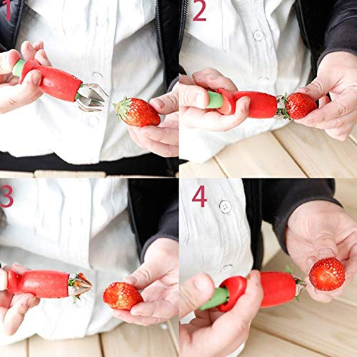 Strawberry Huller, Stem Remover Tomato Corer Tool Kitchen Gadgets (1PCS / Red)