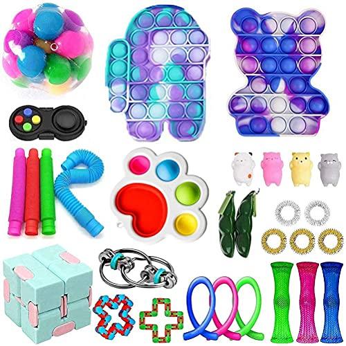 30Pcs Fidget Toys Pack Sensorial Fidget Toys Push Bubble Pop Toy Stress Ansiedad Alivio de Juguetes Set para Add OCD Niños autistas Adultos