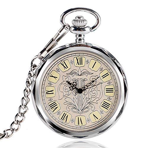 ZHAOXIANGXIANG Reloj De Bolsillo Retro,Reloj De Bolsillo De Viento De Mano Mecánico De Plata Irregular Colgante De Dial con Números Romanos con Reloj De Cuerda Manual para Hombres Y Mujeres Regalo