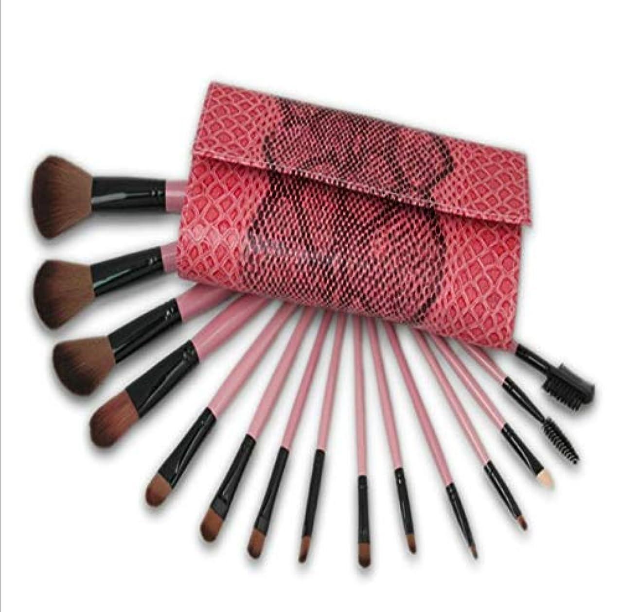 行く資源フルーティーSfHx 化粧ブラシセット、ピンクの蛇化粧バッグ付き15化粧ブラシセット、プロの化粧ブラシ化粧ギフト