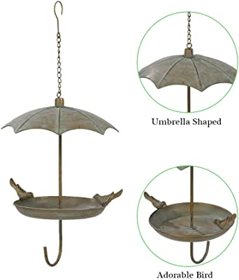 Brogan 9.3 Inch Wild Metal Bird Feeder Tray/Bowl for Outside Hanging, Decorative for Outdoor Garden Patio with Cover, Modern Umbrella-Shaped with Iron Birds Accent (Patina)