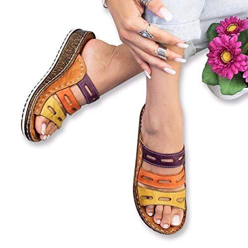 GF shoes Sandalia de Costura Tricolor de Mujer Plataforma Sandalia Verano Playa Zapatos de Viaje para Antideslizantes Resistente al Desgaste Cómodo Summer Beach