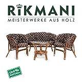Rattan Gartenmöbel Set - Balkon Möbel - Lounge Möbel Terrasse - Ragnarök Gartenmöbel - Tisch Set - Balkonmöbel Set mit Couch (Kissen Gemustert)