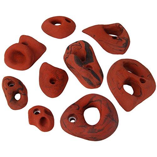 ALPIDEX 9 Klettergriffe Klettersteine Größe M bis XXL, Farbe:rot-meliert
