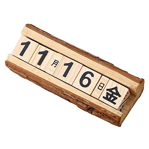 LULUFUN 日めくりカレンダー 木製 万年カレンダー 卓上 アンティーク風 職人手作り 雑貨 インテリア (L)