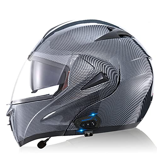 Bluetooth Casco Moto Modular Doble con Doble Visera en Integrado de Intercomunicación Sistema de Comuni Adulto Hombre Mujer Respuesta Automática ECE Homologado,Carbon fiber a,S 55~56cm