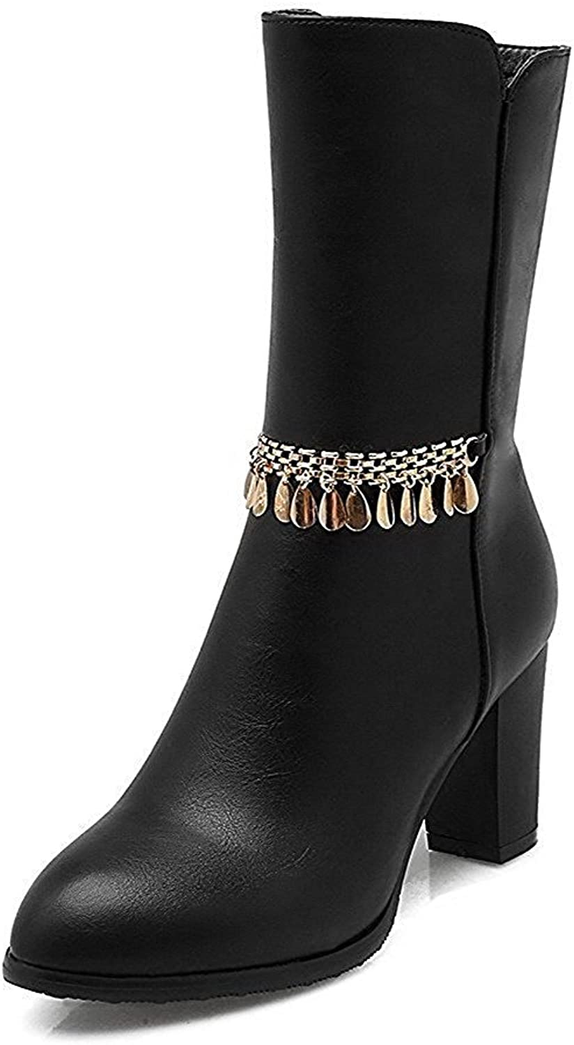 Garyline Women's Solid High-Heels Round Closed Toe PU Zipper Boots with Charms