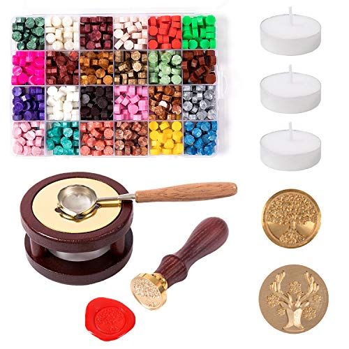 Smalltongue Wax Seal Stamp Kit, 600Pcs Sealing Wax Beads with 1Pcs Melting Furnace Warmer, 1Pcs Wax Melting Spoon, 3Pcs Tea Candles, 2Pcs Replaceable Copper Stamp Heads, for Envelopes(24 Colors)