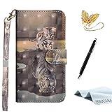 TOUCASA Galaxy S8 Handyhülle,Galaxy S8 Hülle, Brieftasche flip PU Leder ledercase Magnet Hülle [3D Oberfläche] Ultra Glatte Berührung fürSamsung S8(Tiger Katze)