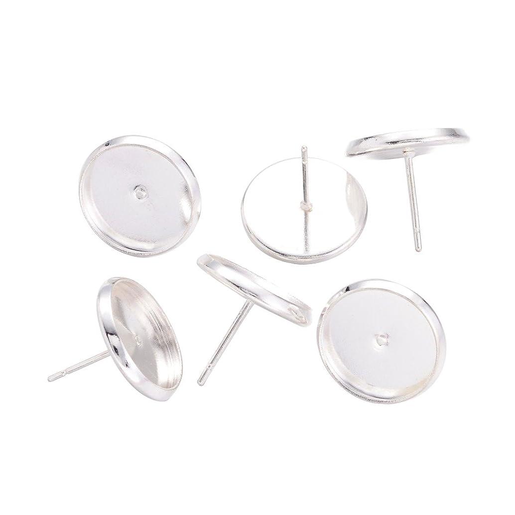 NBEADS 500 Pcs Silver Color Brass Ear Stud Components Bezel Settings Blank Peg & Post Earring Findings for DIY Earring Making fcddcutk21469
