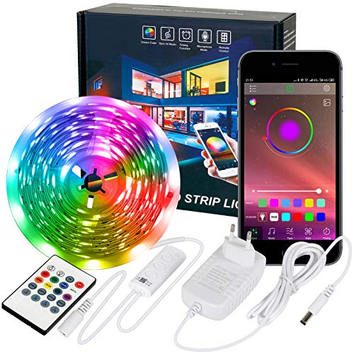 Strisce LED Zethot 6M, telecomando a 20 tasti e controllo app sincronizzato con musica, illuminazione diagonale con luci a led per TV, camera da letto, soggiorno, decorazione casa per feste.