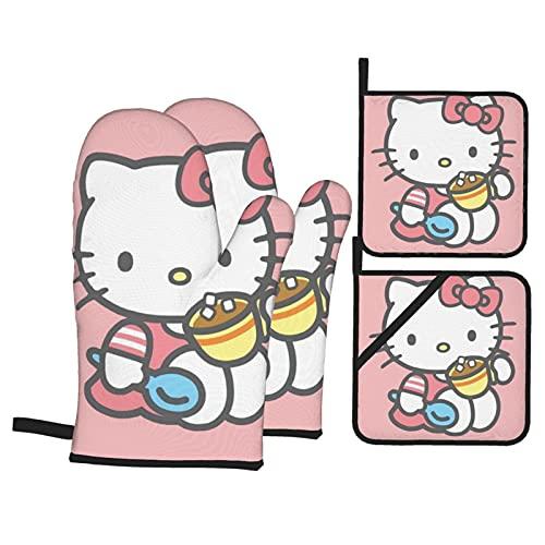TIGGA Hello Kitty - Juego de manoplas de horno y soportes para ollas, diseño de dibujos animados, tela impermeable de doble cara para cocina, hornear, barbacoa