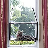 LIFIS Cat Window Perch Cat Window Bed Hammock Up to 55lb Can Be Installed on Small Window Soft Mats Stable Metal Frames Kitty Sunny Seat (Double layers, Grey) (Cat Face)