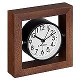 Navaris Reloj de Mesa analógico - Reloj clásico de Madera silencioso - Decorativo para sobremesa mesilla de Noche salón - Marrón Oscuro y Blanco
