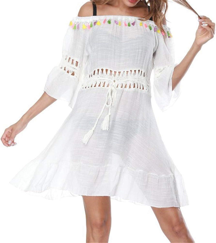 Women's Beach Cover Women Swimsuit Bikini Beach Wear Cover Up Dress Off Shoulder Half Sleeve Tassel Short Beach Dress Bohemian Bathing Blouses Shirt Top (color   White, Size   One Size)