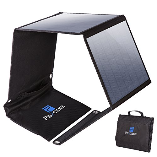PAXCESS Foldable 50W Solar Panel Charger for Suaoki Portable Generator/8mm Goal Zero Yeti 100/150/400 Power Station Battery Pack/USB Devices, with 3 USB Ports