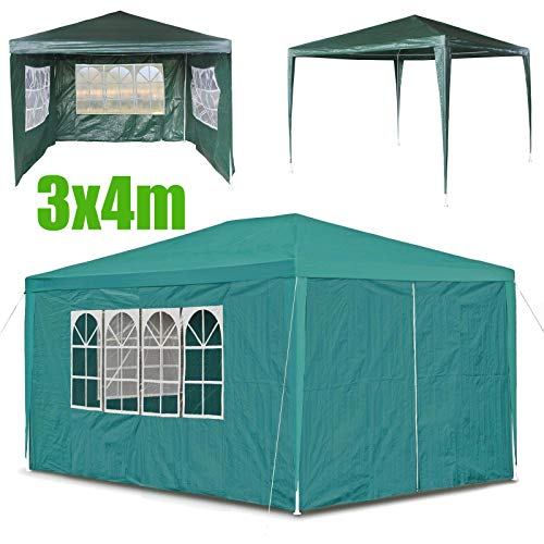 Bowose 3x4m Waterproof Gazebo Outdoor Party Wedding Event Shelter Tent with 4 Removable Side Walls (3 with Windows 1 with Zip) for all seasons, Green, 2 Year Warranty