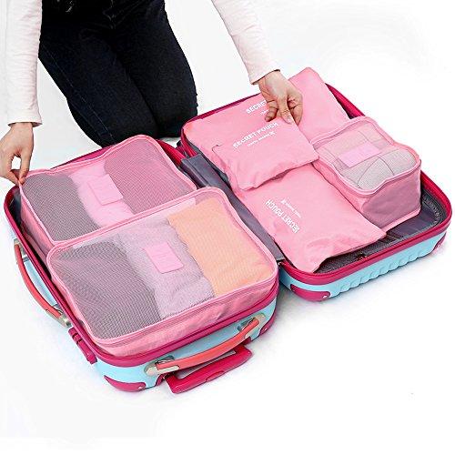 【福美康】 トラベル ポーチ 6点 セット パッキング キューブ オーガナイザー 旅行 出張 整理整頓 アレンジケース スーツケース インナー バッグ パック (ピンク)
