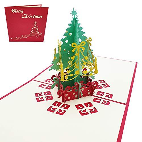 Tarjeta de felicitación navideña 3D - Árbol de Navidad con regalos - Postal 3D de Navidad