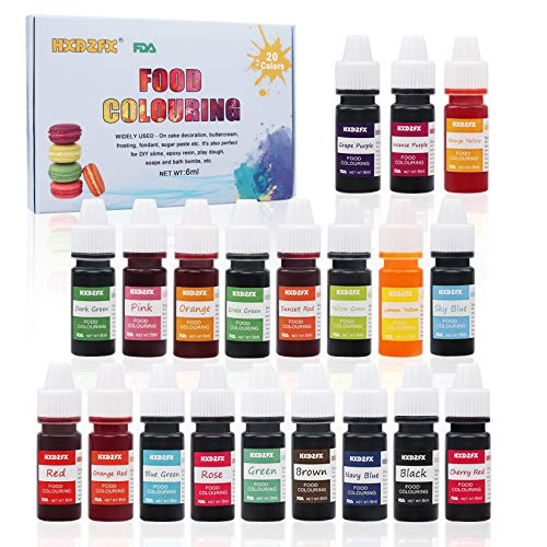 Food Coloring - 20 Color Rainbow Fondant Cake Food Coloring Set for Baking,Decorating,Icing and Cooking - neon Liquid Food Color Dye for Slime Making Kit and DIY Crafts.25 fl.oz.(6ml)Bottles