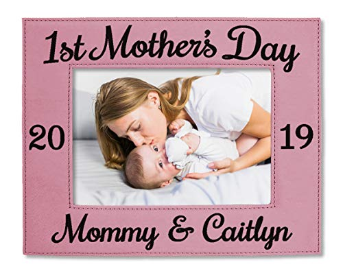 First Mothers Day Leather 5x7 Photo Frame Engraved Personalized Mommy and Me Picture Gift for Grandparent Announcement Baby Shower Present Idea Mother Daughter Gifts (Pink)
