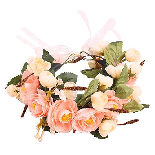 FunPa bruidsbloemen hoofdband namaakroze haar krans bloemen hoofdtooi voor bruiloft strand roze & champagne