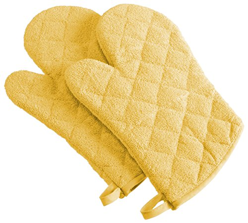 DII 100% Cotton, Quilted Terry Oven Set Machine Washable, Heat Resistant with Hanging Loop, Ovenmitt, Yellow 2 Piece