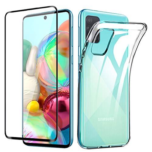 Lifeacc für Samsung Galaxy A71 Hülle, 3D Panzerglas Bildschirmschutzfolie, Ultra Dünn Silikon Transparent Handyhülle für Samsung A71 Schutzhülle (Not für A71 5G)