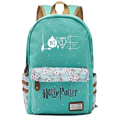 NYLY Chicas Mochila Floral Mujeres Moda de Compras de Viaje Mochila portátil Casual Daypacks, Harry Potter Las Reliquias de la Muerte Bolsa de Reliquias L (Verde Claro) Estilo-9