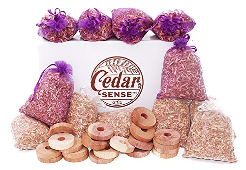 CEDAR SENSE - Cedar Sachet 32 Variety Pack - 6 Cedar Sachets - 6 Lavender Infused Cedar Sachets - 20 Cedar Rings - Cedar Blocks for Clothes Storage - Cedar Chips - Cedar for Block Storage - Cedar