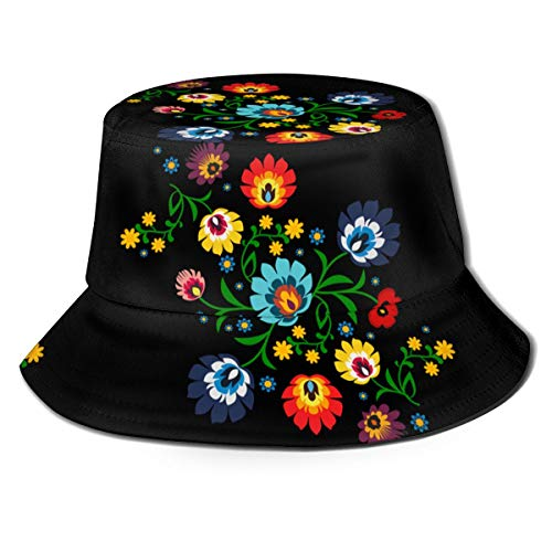 Unisex czapka typu bucket tradycyjny polski kwiatowy wzór ludowy nadruk osłona przeciwsłoneczna czapka rybacka
