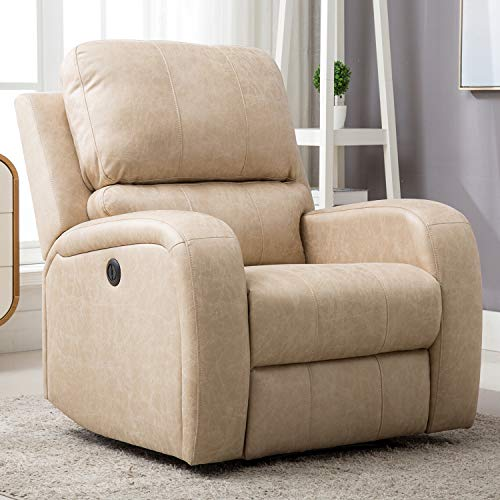 Bonzy Home Power Recliner Chair Air Suede - Overstuffed Electric Faux Suede Leather Recliner Chair with USB Charge Port - Home Theater Seating - Bedroom & Living Room Chair Recliner Sofa (Cream Suede)