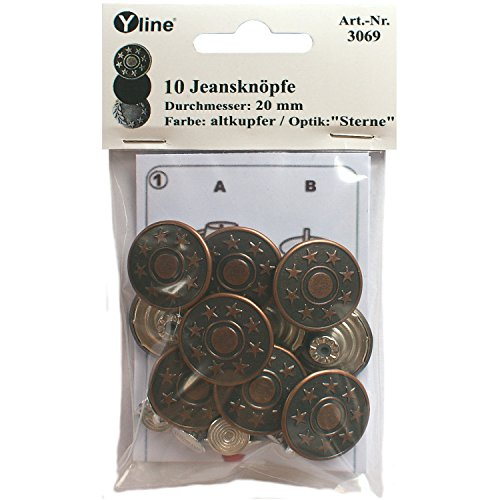Yline 10 Jeans Knöpfe altkupfer 20 mm, Jeansknöpfe Metallknopf, Metall Knöpfe, nähfrei, im SB Pack, sl, 3069