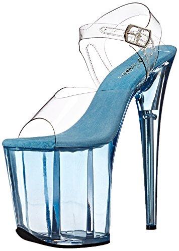 Pleaser Damen FLAMINGO-808T Offene Sandalen, Transparent (CLR/Light Blue Tinted), 35 EU
