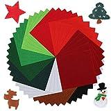 Pllieay Fogli in morbido tessuto di feltro natalizio, 10,2 x 10,2 cm, spessore 1,4 mm, multiuso, per...